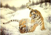 Китайская живопись, тигры/Chinese painting, tigers