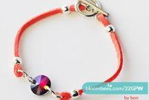 Leather bracelets / Delikatne bransoletki z rzemieni z ozdobami z kryształów Swarovskiego.