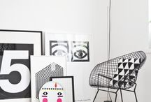 Cozy corners & shelfs B & W / Interiors in black & white