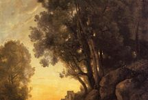 Arcadian landscapes / landscape paintings and photographs  with golden light