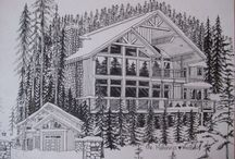 Freehand architectural portraits