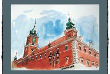 Watercolor - Walk around Warsaw