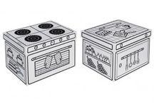 Boites de rangement en carton / Des boîtes de rangement en carton robustes, à décorer ou déjà illustrer, pour animer une chambre d'enfant!