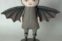 folk art bat dool