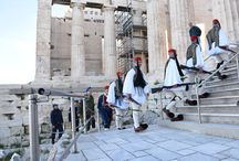 Flag raising on Acropolis by the Greek Presidential Guard.
