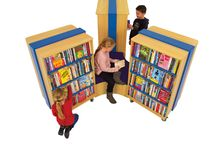 Mobile Library Shelving / Attractive mobile shelving is the perfect solution to make the most of any space. Create a fantastic showcase for children's books in the center of the room and then easily move the children's library shelving to the side when you want to hold an activity or event.