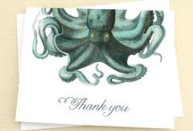 Nautical Stationery / Nautical boxed notes and stationery by Concertina Press, created using antique scientific illustrations of sea creatures, underwater plants and seashells.