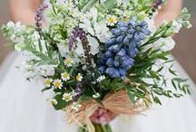 Laura Herring and Gavin / April 2015 - A relaxed informal just picked style full of cheerful.  Spring flowers in the colour theme of white and blues with a hint of yellow.