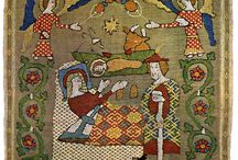 Medieval embroidery. Christian art.