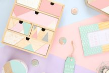 Geographic Blush / Geographic Blush is a pastel coloured range with bold patterns. This range has everything needed for the home including drawers, photo frames and candle holders.