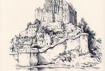 Le Mont Saint-Michel vu par des dessinateurs