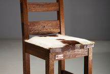 Sustainable Reclaimed Oak Chairs by Old Soul Furniture / rustic, reclaimed oak chairs upholstered with genuine leather or cowhide
