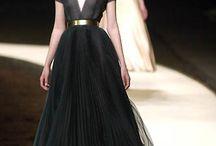 Chanel touch of gold / V neck Chiffon black dress