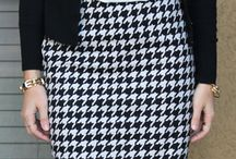 houndstooth skirt outfit
