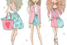 fashion girls illustrations