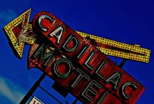 Vintage neon sign and advertising