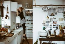 @Home Kitchen / My favorite place in my home. Where all my passions come to fruition and stomachs leave full! I love spaces that promote ease of use, large working spaces and either a twist of a modern or cottage feel...I've yet to decide.