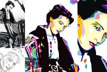 Maria Tanase 1913-1963 / canvas collage in progress with Romania's greatest voice wearing a traditional costume
