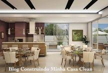 Espaço Gourmet! Salão, Varandas e Quiosques! / Veja + Inspirações e Dicas de decoração no blog!  www.construindominhacasaclean.com