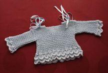 Chaquetitas perlé / Chaquetitas de punto para bebé hechas a mano en algodón-perlé para vestir elegante al recién nacido