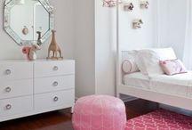 Tweens / teenager bedroom, pink bedroom, pink accents, teenager room decor, girls room, patterns, wall art, accent pillows, tween, teen bedroom, colorful patterns, colorful lighting, blue bedroom