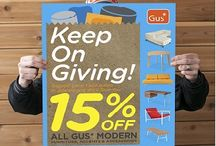 "Gus Modern ""Keep on Giving"" Sale! / Buy your Modern, contemporary furniture and accessories during the month of January 2014 and receive 15% off! / by Mod Livin' Modern Furniture"