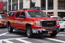 Fire trucks and cars