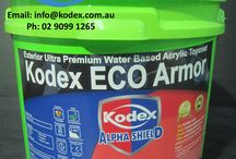 Kodex ECO ARMOR / Our UV stable, weather resistant, water-based, non-hazardous Kodex ECO ARMOR has been developed for your Concrete, brick, block work and render walls, parapets, balconies, facades and bitumen roof top coating purposes. Read More: http://bit.ly/1EiMCZE