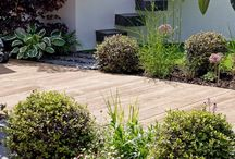 eco deck / greencube avoids using hardwood and will often specify millboard decking to add warmth and contrast to paved areas