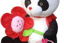 Oyuncak Panda Peluş Panda Gülen Yüz Çiçekli Sevimli Panda 75 Cm