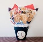 Sports Cookie Bouquets / Great for the guys . . . fresh baked cookies in a sports themed bouquet! Kookie Krums
