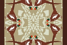 Silk Scarf Designs by L&Y 2011 / The 2011 collection focused on hand drawn shapes with mirrored images and patterns.