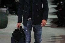 Blue jeans black shoes
