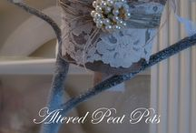 Altered Peat Pots / so in love with how gorgeous the humble peat pot becomes when embellished