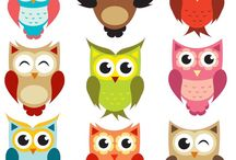 Owls - cartoons & printables / Printables and photos of these cute creatures