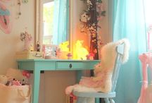 Interiors | Tween Room / Pastel ideas for our eldest daughters shared bedroom.  Ideas for bedding, curtains, decor, desk area, to make a beautiful bedroom for two little girls.  Ideas for a tweenager to have a pretty pastel bedroom.