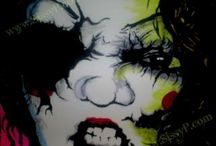 Horror Pop Paintings / The Sissy Pesticide Project.  Inspired by the likes of Alice Cooper , Scary Movies and the like...  * A Jamie Roxx Pseudonym Project.  2010 ~ 2013