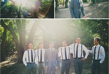 Wedding: groom and groomsmen / GRAY or BROWN: Groom wears opposite shade of groomsmen (light/dark)