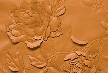embossed and printed leather
