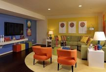 Colorful Family Room Inspiration / Design ideas for colorful basement family room.  Light & bright.