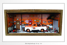 Diorama Oficina Harley-Davidson - Escala 1:18 - Tamanho 43L x 20H x 16P