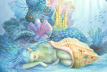 Mermaids - Mermen - Selkies / Paintings, illustrations and art about the Beings of Nature of the Water element of ocean and sea (Spirits of Nature - Elementals - émanants, Sidhe, Petit Peuple): Mermaids, Mermen, Selkies.