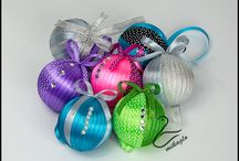 mikaglo christmas decorations / origami 3d, ribbons, christmas,