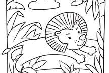 Coloriages animaux de la jungle et de la savane / Découvrez dans ce tableau,  plusieurs dessins d'animaux de la jungle et de la savane à colorier. Vous y trouverez des lions, des lémuriens, des rhinocéros, des éléphants et bien d'autres encore