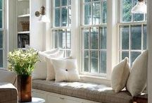window seat ideas / window seat inspiration. window seat ideas, window seat with cushion, built in seat.