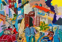 """Exhibition """"PATRICK BERGES"""" / Os trabalhos do artista Patrick Berges são inspirados em personagens do Mediterrâneo, multicoloridos, sem rostos, que viajam de Fiat Cinquecento, em meio a ambientes urbanos onde os edifícios e monumentos são os mais improváveis possíveis. Sua obra é um espelho em duas dimensões de cenários regionais, com cores fortes e traços precisos. Patrick Berges nasceu no Marrocos em 1958, actualmente vive e trabalha em Origne, França."""