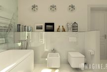 white bathroom  / white bathroom with black accessories and Vitra Eames Chair