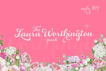 The Laura Worthington Pack / Get four of Laura Worthington's most popular script fonts! These amazing typefaces are all 100% PUA encoded and accessible to everybody, without the need for special design software.