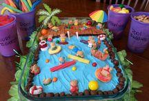 Pool parties cakes