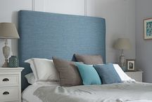 Blissful Blues in the Bedroom / Blue is a perfect colour choice for the bedroom - it invokes a feeling of peacefulness. Choose a deep blue headboard with neutral walls for a dramatic contrast or maintain neutral shades throughout for a complete sense of calm